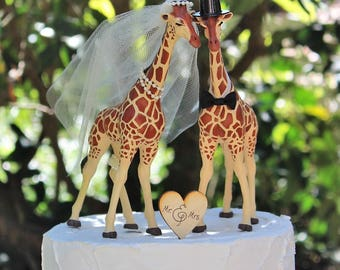 Giraffe Cake Topper, LARGER Giraffe Wedding Cake Topper, Animal Cake Topper, Animal Lover Cake Topper