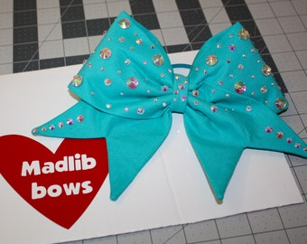Turquoise fabric cheer bow with Swarovski Crystals
