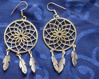 Drop Dreamcatcher Earrings. Large Dreamcatcher Earrings.
