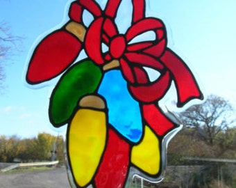 Christmas lights with bow stained glass window cling