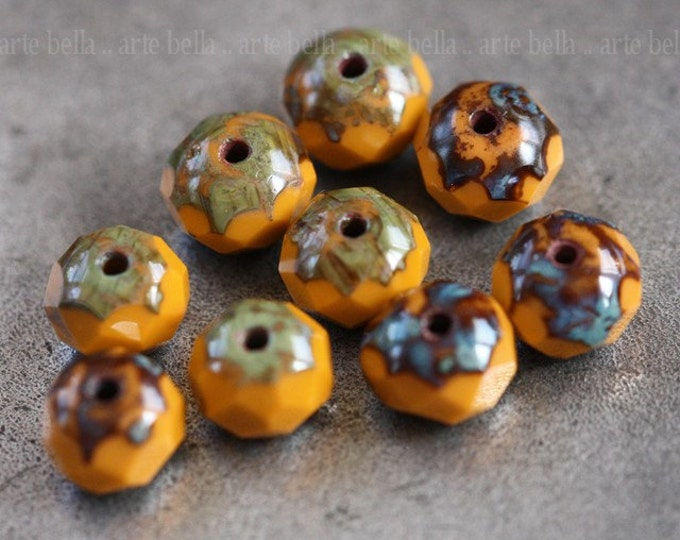ROASTED No. 1 .. 10 Picasso Czech Glass Rondelle Beads 7x5mm (3906-10)