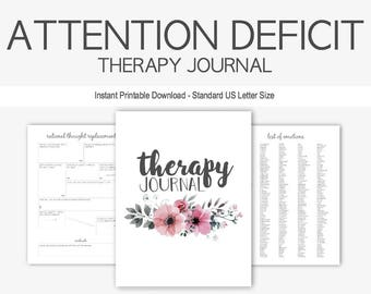 Attention Deficit Disorder Therapy Journal: Mental Health, ADD, Depression, Anxiety, Learning Disorder, Hyperactivity, Instant Printable