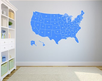 "Large US Map Wall Decal United States US Map Vinyl Art Wall Decal 72""x43'"