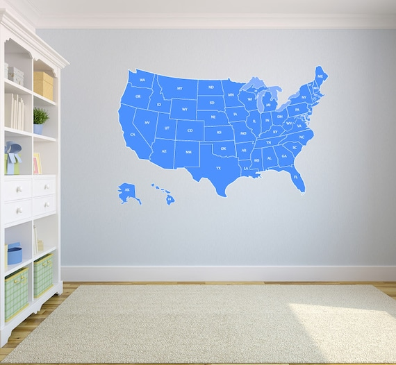 large us map wall decal united states us map vinyl art wall