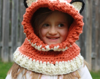 Ready to Ship Fox Hooded Cowl,Hooded Cowl,Kids Hooded Cowl,Crochet Hooded Cowl,Toddler Hooded Cowl,Girls Hooded Cowl,Crochet Character Cowl