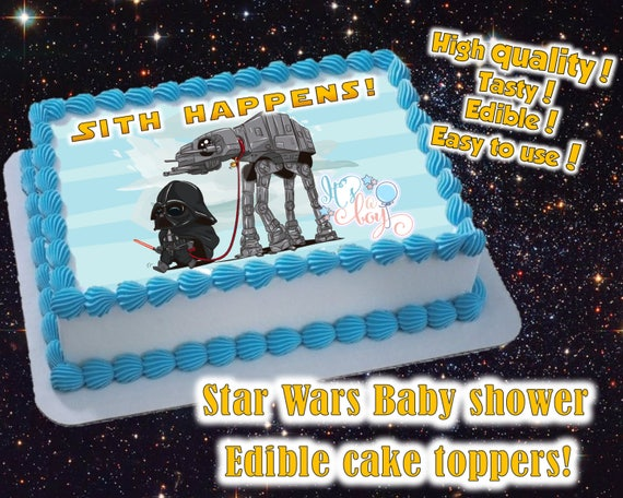 Star Wars themed Boy or Girl Baby shower cake toppers edible print