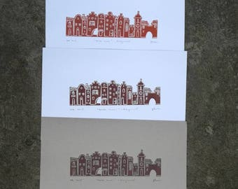 Houses / long street linocut, original color print, unique art piece, fairy tale architecture from Poland, wall art, new home gift, moving
