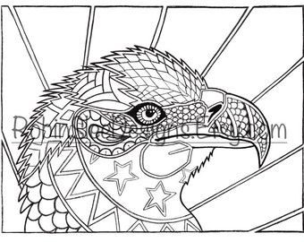 Eagle colouring page, PDF and JPEG included, instant download, nature art, animal illustration, art therapy, stress relief