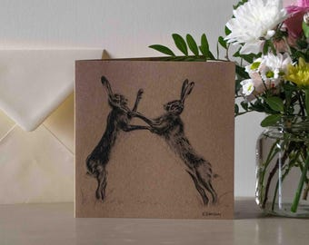 Fighting Hares British Nature Greetings Card - Blank Inside