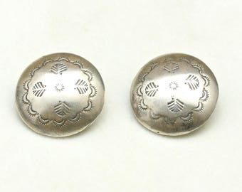 Vintage Sterling Silver Navajo Round Domed Button Clip On Earrings Southwestern