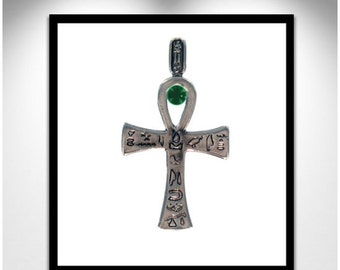 Silver Ankh - Lease cartridge and stones _ cross of life money - swivel cartridge and stones