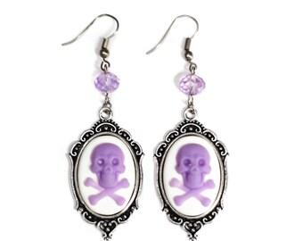 Lavender Skull 18x25mm Cameo Glass Beaded Silver Filigree Earrings