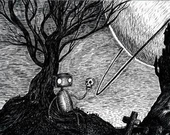 Alas- A3 robot art print by Jon Turner- macabre geeky artwork