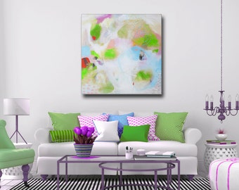 Large Canvas Art, Abstract Giclee Print,  Lime Green White Pink Wall Art, Canvas Print from Painting, Expressive Art, Colourful Canvas Art