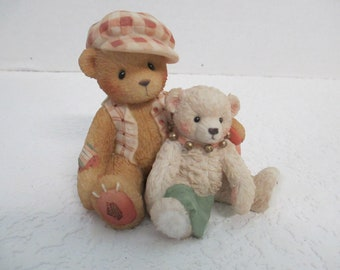 "Vintage Cherished Teddies resin Bailey and Friend "" The Only More Contagious is A Best Friend"" figurine 915/782"