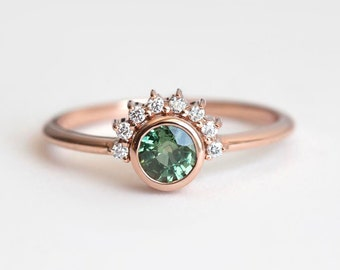 Green Sapphire Ring, Green Engagement Ring, Sapphire Diamond Ring, Diamond Sapphire Ring, Sapphire Engagement Ring, Rose Gold Sapphire Ring