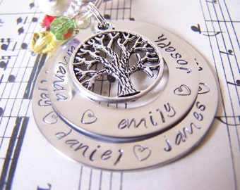 Christmas XL Hand Stamped Double Washer Keychain, Family Tree Keychain, mothers Gift, Customizable Family Key Chain,