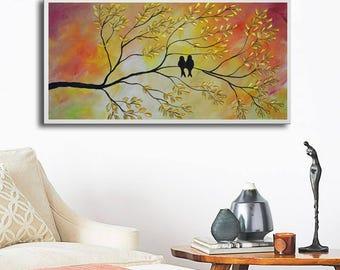 Abstract Birds Giclee, Birds print, colorful print, art print, abstract orange print, love birds print, print on canvas, love birds on tree