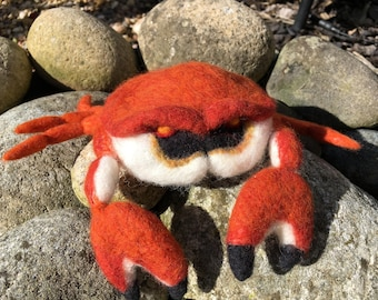 CRAB CRUSTACEAN Needle Felted 3D Wool Sculpture by Stargazey