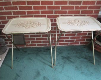 Vintage PAIR of Mid Century Modern Off White  Metal TV Snack Trays Folding Tables