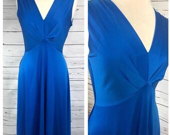 Medium 70's floor length blue formal dress - medium disco goddess dress - medium blue polyester maxi dress
