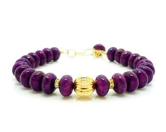 Purple Pyrite Turquoise Bracelet, Purple Turquoise Jewelry, Gemstone Bracelet, Beaded Bracelet, Gemstone Jewelry, Purple Bracelet