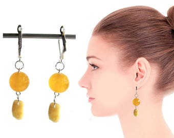 Amber Jade Earrings 6.0 gr. round beads Jade,  Baltic Amber yellow drop beads egg yolk polished opaque for adult chandelier layered
