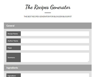 Recipes Generator - Beautiful recipe cards for your recipes - Perfect for food blogs on any blogging platform