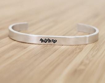 hand stamped cuff bracelet   mom