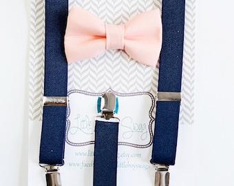 Boys Navy Suspenders Peach Bow Tie, Kids Adult Bow Tie Suspenders, Ring Bearer Outfit, Baby Boy Bow Tie, Wedding Bow Tie, Baby Boy Bow Tie