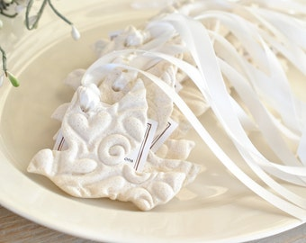 Personalized Imprinted Wedding / Baptism Silhouette Dove Salt Dough Ornaments Set of 10