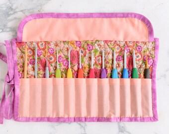Crochet Hook Roll - Pink and Peach