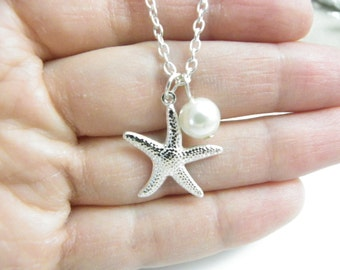 Bridesmaid Gift, Bridesmaid Starfish Necklace, Starfish Necklace, sterling silver chain and Pearl Necklace, Beach Nautical Wedding Jewelry,