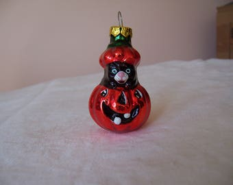 Vintage Glass Halloween Ornament - Black Cat in Jack 'O Lantern
