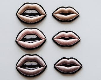 "Embroidered Brooch ""Lips in NUDE colors"" (6 variants)"