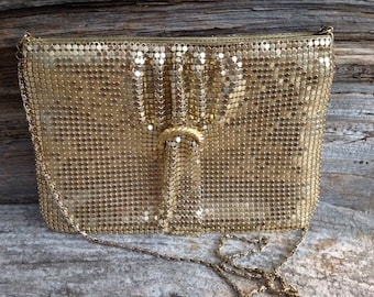 Vintage Gold Metal Mesh Evening Bag Purse Retro Disco Special Occasion Party Prom Wedding Bridal