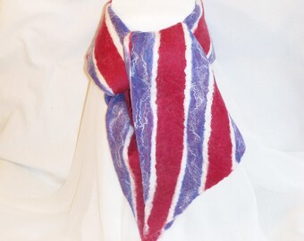 Felted Wool Scarf Merino  - Cranberry Red, White, and Periwinkle Blue Stripes - Gift for Her - Winter Scarf -  Felt Scarf
