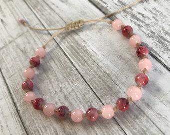 6mm Beaded Bracelet- Pink Slide knot beaded bracelet made with 6mm glass beads