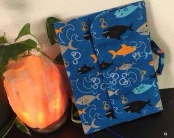 Handmade Coloring Book Tote Organizer w/handle - fishy on blue