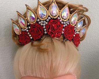 Irish dance Rose embroidered rose Tiara with 28 mm diamanté sew on teardrop and Preciosa and Alora Austrian hotfix rhinestones