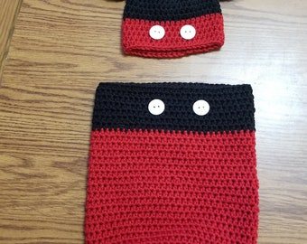 Mickey Mouse infant bunting and hat