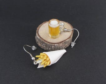 Miniature Fries and beer earrings - Hypoallergenic stainless steel ear hook - Polymer clay miniature food jewelry