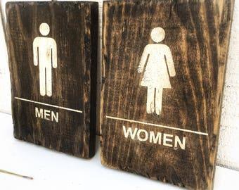 Restroom signs, restroom wood sign, Rustic restaurant sign, restroom door sign, men, women, business sign, pallet sign