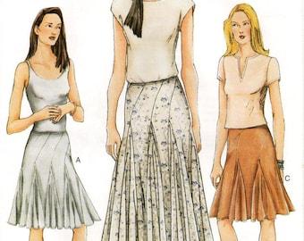 Sz 8/10/12 - Vogue Skirt Pattern 7302 - Misses' Flared Hem Godet Skirt with Seaming and Length Variations - Vogue Patterns