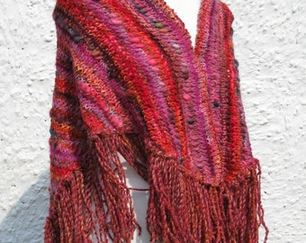 Scarlet and Crimson Handknit Shawl