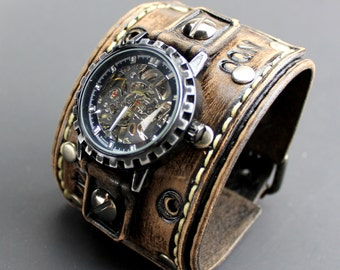 Brown leather wrist watch, Wide leather cuff, Distressed leather watch band, Steampunk watch, Men's leather watch