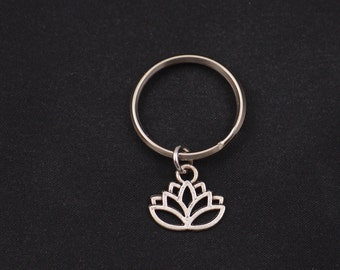 lotus keychain, sterling silver filled, silver lotus flower charm keyring, best friend gift, bridesmaids gifts, mothers gift,blooming flower
