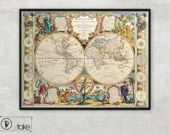 World Map - Fine Art archival print  - Ancient maps - Old map of the world - home decor,019