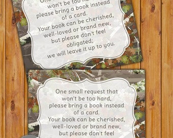 Camouflage In Lieu of card, Book Baby Shower Invitation Inserts Instead of a card Camo pattern Printable PDF--Instant Download