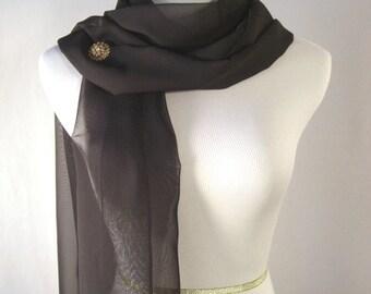 Bridal Scarf - Black Wedding Scarf -  Bridesmaid Scarf - Evening Wrap - Extra Long Black Silky Chiffon